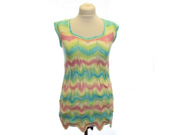 Hand knitted Tunic / multicolor / OOAK / Ready to ship / open-work embroidery