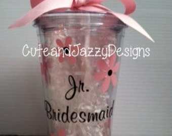 Personalized Jr. Bridesmaid, Flower, 16 oz, Acrylic, BPA Tumbler with Straw
