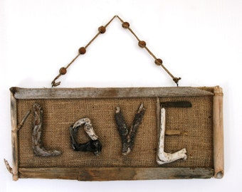 LOVE Driftwood & Burlap Hanging Sign, Driftwood wall art, Wall Decor