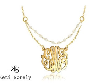 Personalized Monogram Initials Necklace with pearls (Order Any Initials) - Sterling Silver w/Yellow ro Rose Gold Overlay