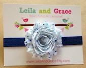 Navy Blue & White Polka Dot Shabby Chic Chiffon Headband- Newborn Headband, Baby Headband, Toddler Headband