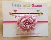 Pink Floral Shabby Chic Chiffon Headband-Baby Headband, Newborn Headband, Toddler Headband