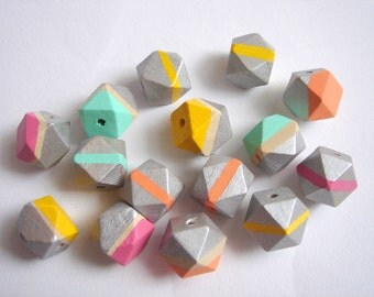 Hand painted Silver tone Neon Geometric  Wood Beads,Do it Yourself Geometric necklace