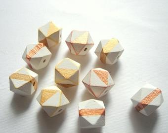 Hand Painted Geometric White& Gold Wood Beads,Do it yourself Geometric Jewelry