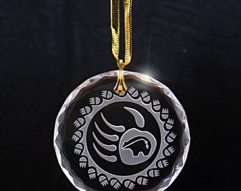 Etched Southwestern Crystal Ornament