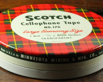 Scotch Cellophane Tape Tin Container - Red and Green Plaid