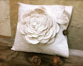 Decorative Flower Pillow Case Rustic Unique Home Decor Felt Pillows