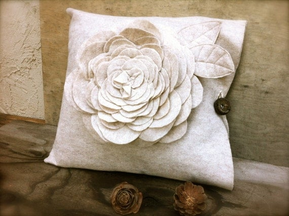 Decorative Flower Pillow Case Rustic Unique Home By MomoRadRose