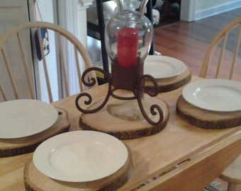 RUSTIC 5 Piece Place Set of LOG SLICES