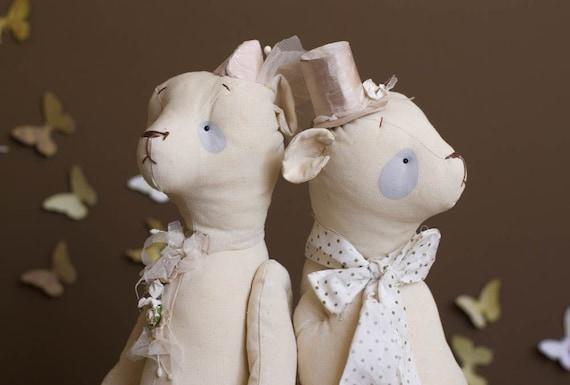 SALE Two Bears - Stuffed With Love Buddy Bears - Soft Toy - Stuffed Animals - Artist Bear - Wedding Ceremony