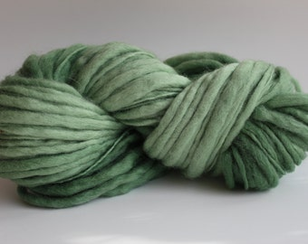 Seafoam Green Color Hand Spun Hand Dyed Thick and Thin Chunky Wool Yarn