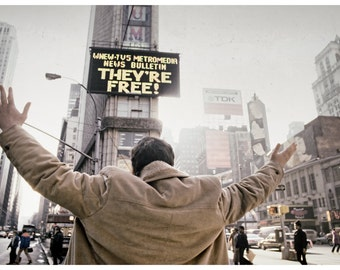 Vintage Historical Image: Times Square, 1981 Iran Hostage Crisis Over, Print from Original Negative