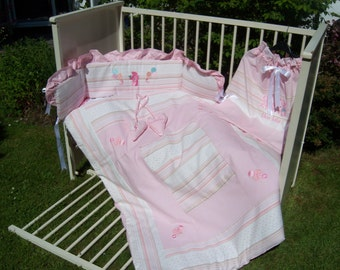 Pretty Pink Cot Quilt and Bumper set, with matching laundry bag.