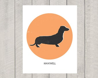Dachshund Art Print - Custom Name - Dog Art