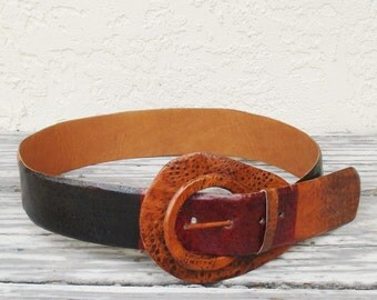 Vintage Women's Leather Belt With Large Buckle, Leather Belt With Black Red and Brown Inserts, 1980s Leather Belt, Boho Belt