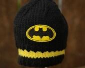 Batman Baby Hat, Baby Batman Hat, Newborn Photo Prop, Baby Boy Batman Hat, Baby Knit Hat, Knit Baby Hat, Batman Baby, Newborn Batman Hat