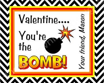 "You're the Bomb Valentine Printables- 4 x 3.3"""