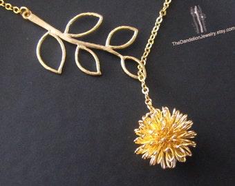 Branch Lariat Necklace, Dandelion Necklace, Pendant Necklace, Charm Necklace,Jewelry, Gift, SALE 10% OFF