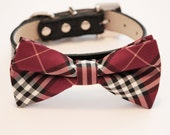 Plaid Red Dog Bow Tie, bow attached to dog collar, dog birthday gift, Fashion bow tie, dog lovers, color of 2016, wedding dog collar