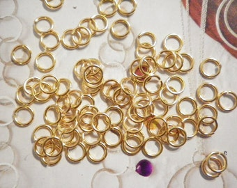 72 Vintage Goldplated 9mm x 1mm Jump Rings
