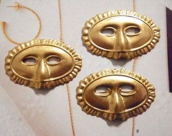 3 Vintage Brass 50mm Mardi Gras Masks