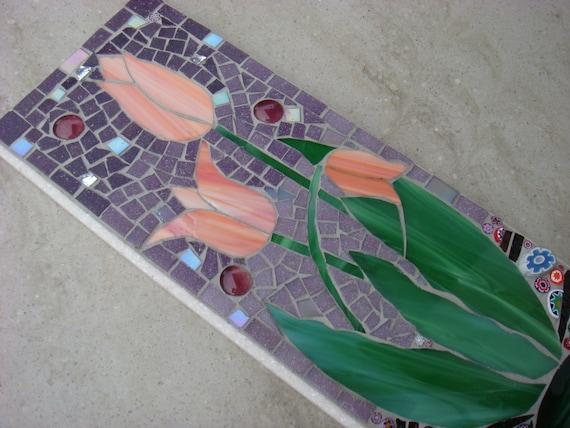 Garden Ornament,Mosaic Tulips,Wall Plaque,Decor,wall hanging,handmade, uk, floral,sign,garden decor,wall art,yard,indoor,outdoor,patio,gift