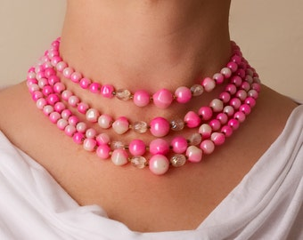 Vintage Pink Multi Strand Bead Necklace