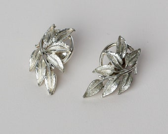 Vintage Mid Century Clip Earrings Silver Tone