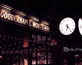 Toronto Distillery District Photography - 10x15 Fine Art Print - Historical, Clock, Evening, Lights, Magic Wall Art