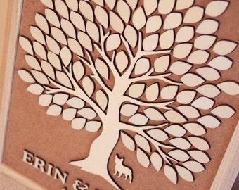 3D Wedding Guest Book Alternative Wedding Tree Wood Guest Book Rustic Wedding Guestbook Wedding Gift Tree Of Hearts Leaves