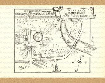 Map of Peter Pan Kensington Gardens Printable Digital Image Download Story Barrie Fairy Fairies Growing Up 206