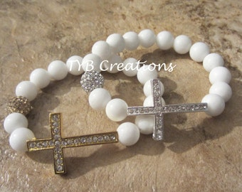 White Cross Bracelet - Gold or Silver
