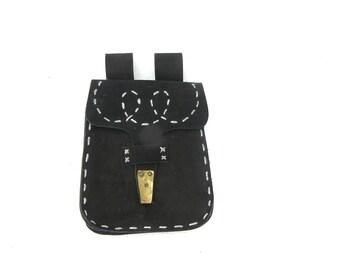 Leather Fanny pack Black leather bip bag Genuine leather pouch Vintage leather fanny pack Vintage hip bag