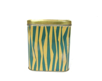 Soviet tin Soviet vintage food container Teal blue stripes Large tins Large Soviet tin