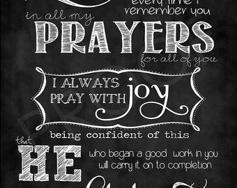 Scripture Art- Philippians 1:3-4,6 Chalkboard