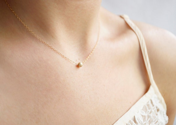 14k Gold Filled Dot Necklace - minimal, 14k gold filled