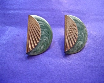 Vintage Gold and Enamel Pierced Earrings