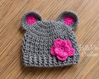 Gray and Pink Crochet Bear hat with flower