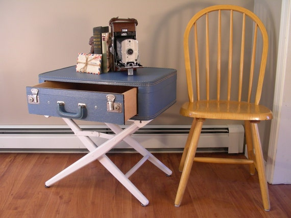Suitcase table with drawer vintage side table end table for Diy suitcase table
