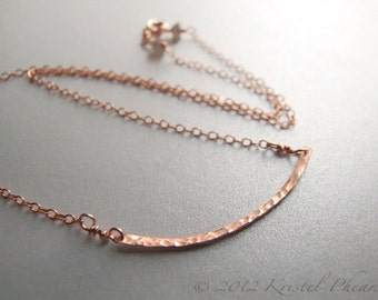 Rose Gold Bar Necklace - hammered gold eco-friendly GF, simple elegant minimal original jewelry design choker, statement, bridesmaid Gift
