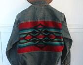 M Heritage Indian Pendelton Western Denim Jacket