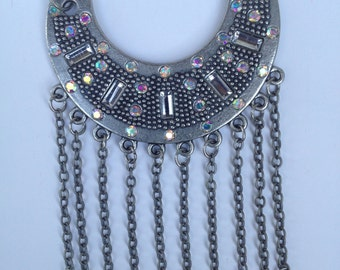 Pearl Statement Necklace-Fringe Statement Necklace-Rhinestone Necklace- Bib-Vintage-One of a Kind Original-Designs by Stalinda