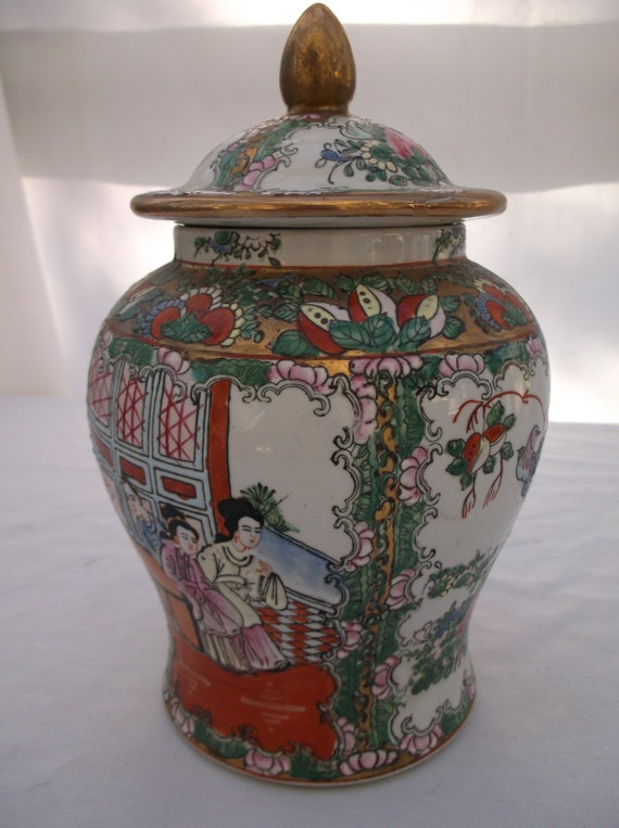 Temple Jar Chinese Famille Rose Canton Medallion