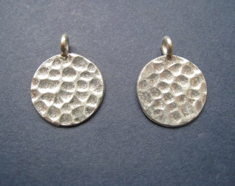 HT-44 Thai Hill Tribe Fine Silver Hammered Charms - Two Pieces