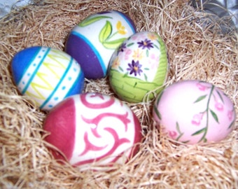 Heirloom Heggs - 5 hand painted ceramic Easter Eggs