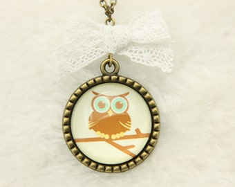 Necklace funny owl  brown 2525C