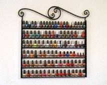 """Nail Polish Organizer Rack Wrought Iron """"Metal Circle Design"""" Holds 132 Bottles"""