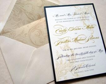 Gold and Black Wedding Invitations, Victorian Wedding Invitation, Wedding Invitations, Black and Gold Wedding Invites, Elegant Invitation