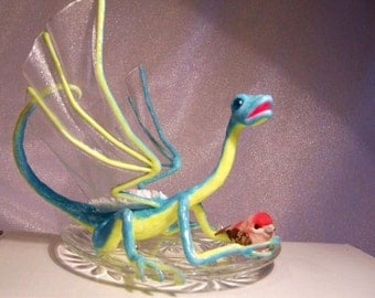 Turquoise Dragon, Glow in the Dark Art Doll: Abby's Pet Bird