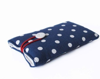 Handmade case for iPhone 7, bag blue white dotted etui sleeve dots cotton fabric cover 6S, 4, 2G, 5, 5S, 5C